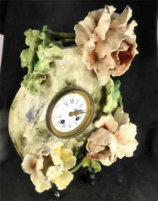 N621 Antique 19Th Century French Barbotine Ceramic Clock Raised Flowers 2