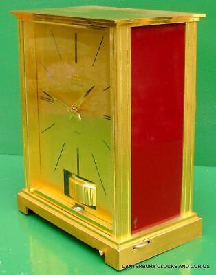Jaeger Lecoultre Vintage Burgandy Embassy Atmos Clock Original Box Serviced 11