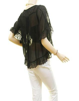 Victorian Faux Silk Sheer Chiffon Embroidered Lace Trim Peasant Blouse Shirt Top 8