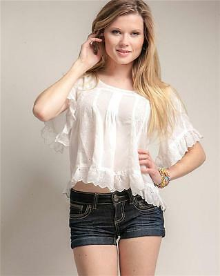 Victorian Faux Silk Sheer Chiffon Embroidered Lace Trim Peasant Blouse Shirt Top 2