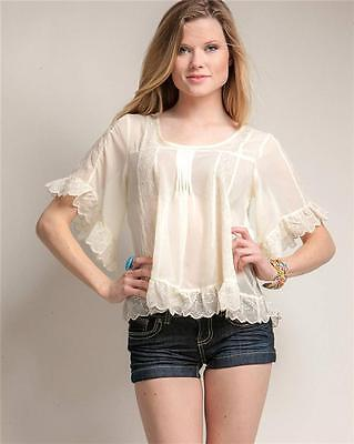 Victorian Faux Silk Sheer Chiffon Embroidered Lace Trim Peasant Blouse Shirt Top 10