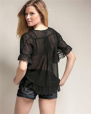 Victorian Faux Silk Sheer Chiffon Embroidered Lace Trim Peasant Blouse Shirt Top 7