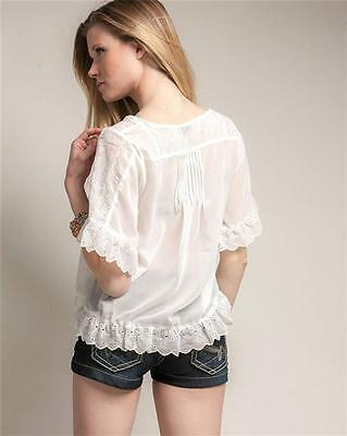 Victorian Faux Silk Sheer Chiffon Embroidered Lace Trim Peasant Blouse Shirt Top 3