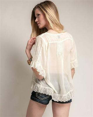 Victorian Faux Silk Sheer Chiffon Embroidered Lace Trim Peasant Blouse Shirt Top 11