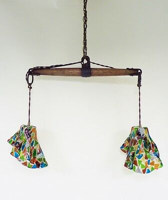 Vintage Industrial Chandelier Fused Glass Shades Horse Evener Wood Cast Iron 4