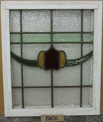 """OLD ENGLISH LEADED STAINED GLASS WINDOW Pretty Band & Swag Design 17.5"""" x 20.5"""" 3"""