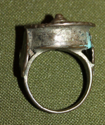 Antique Medieval Greek silver plated ring