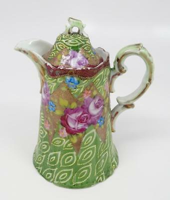 Antique Shimamura Moriage Green, Gold, Pink Rose Teapot 1880-1920 Japanese Meiji