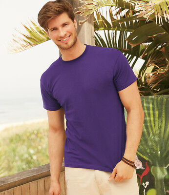Men Fruit of the Loom 100% Cotton Plain T Shirt Short Sleeve Blank Original Tee 3