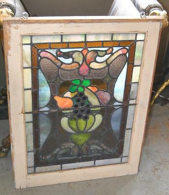 Pair Of American Stained Glass Windows With Fruit Basket Detail, 1910 3
