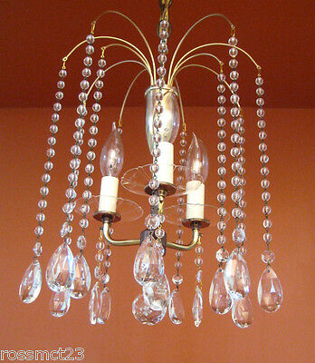 Vintage Lighting 1950s Eames Mid Century Hollywood Regency crystal chandelier 6