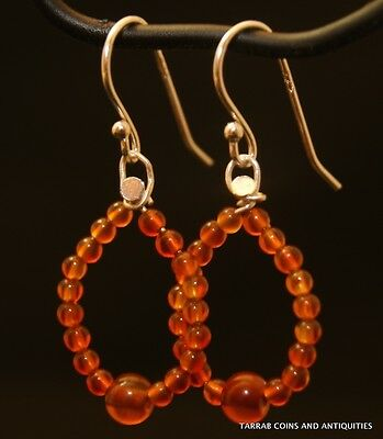 Ancient Roman Egyptian Carnelian Stone Beads - Earrings - 1St - 2Nd Century A.d. 2