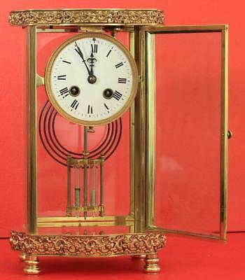 Antique French Ornate Serpentine Crystal Regulator Mantle Clock Signed By H&H 4