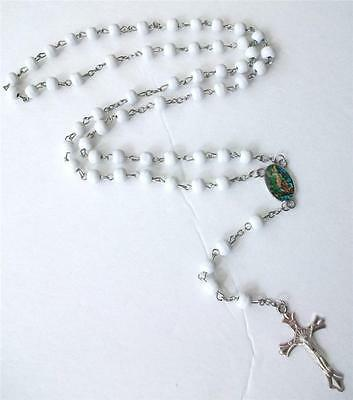 White Wood Beaded Chain Rosary Scented Wood Beads Cross Necklace Boxed