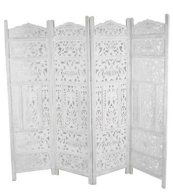 4 panel heavy duty carved indian screen wooden leaves design screen