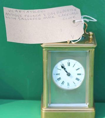 Antique French 8 Day Repeater With Silvered Mask Dial Carriage  Clock 8