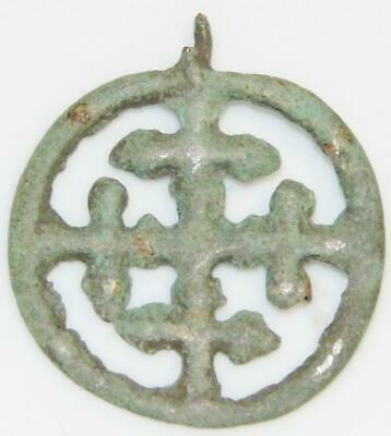 Medieval Bronze Crusaders Cross in Wheel Ancient Christian Pendant Sun Amulet 3