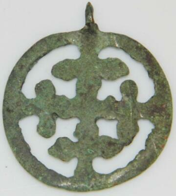 Medieval Bronze Crusaders Cross in Wheel Ancient Christian Pendant Sun Amulet 2