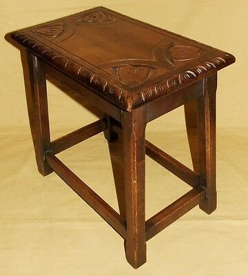 Antique Carved Solid Oak Joint Stool / Occasional Table / Lamp Stand (8) 2