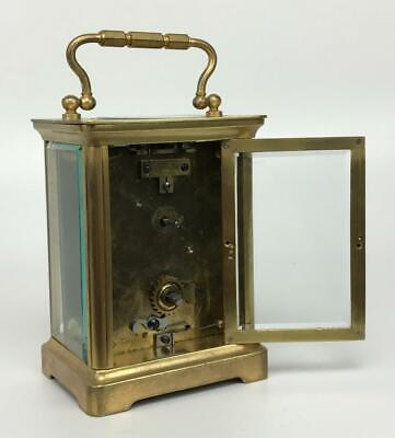 Antique 19thC French Brass Glass Carriage Officers Clock +Key HENRI JACOT (Attr) 9