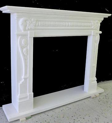 Beautiful Hand Carved Marble European Design Marble Figural Fireplace Mantel Z10 3