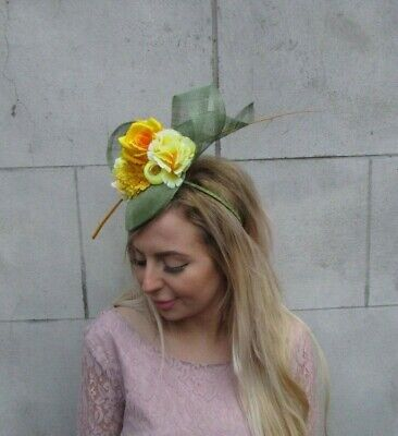 Sage Moss Olive Green Mustard & Yellow Flower Feather Hat Fascinator Races 0087 3