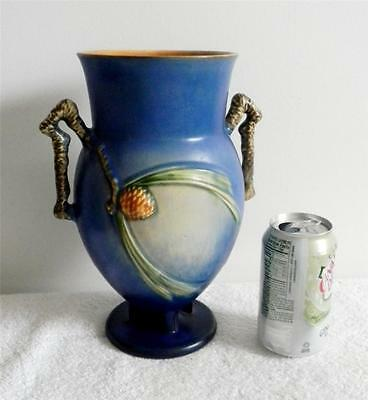 Roseville Pinecone Vase In Blue Color Double Handles Free