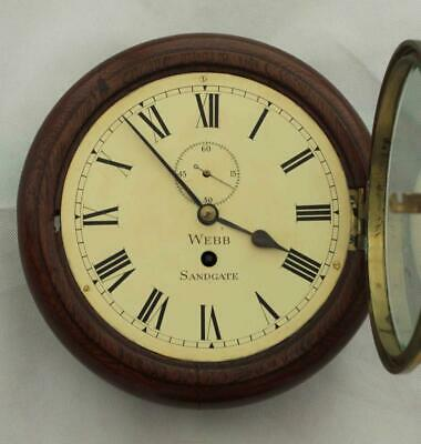 "Rare Miniature Antique English Mahogany 8 Day 7"" Fusee Dial Clock Webb Sandgate 4"