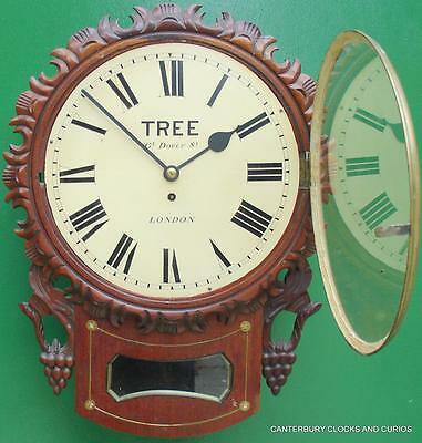 Tree London Decorative Mahogany 8 Day English Fusee Drop Dial Clock 2