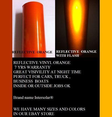 "12"" x 5'  ORANGE  Reflective Vinyl Adhesive Cutter Sign Hight Reflectivity 3"