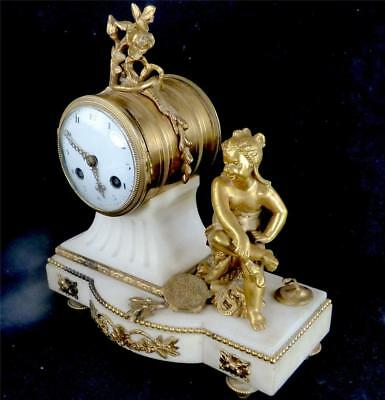 N552 Antique French Japy Freres 8 Day White Marble Clock Garniture Urn Set 4