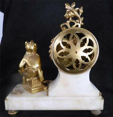 N552 Antique French Japy Freres 8 Day White Marble Clock Garniture Urn Set 12