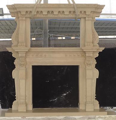 Large Estate Hand Carved Fireplace Mantel - Fireplace Mantel - Monumental Mantel 5