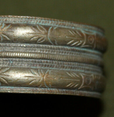 Antique Greek hand made folk silver plated bracelet