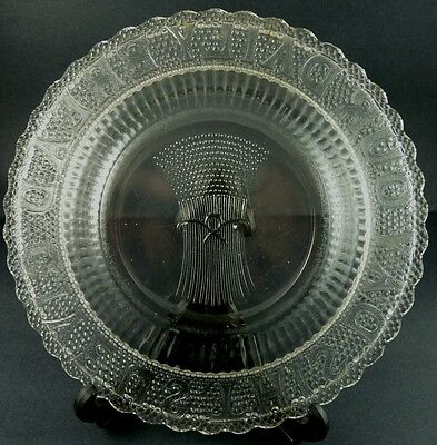 """Give Us This Day Our Daily Bread American Pressed Glass Plate 10"""" 5"""
