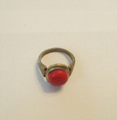 Early 20Th C Bronze Ring With Red Stone Very Beautiful #175 4