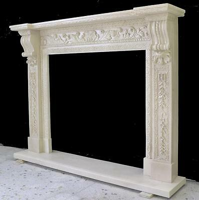 Beautiful Hand Carved Marble European Design Marble Figural Fireplace Mantel Z1 5