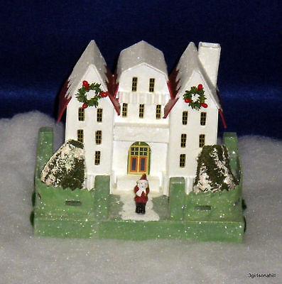 Radko YELLOW Putz Miniature House Shiny Brite SPARKLE TOWN RARE NEW NIP Retired