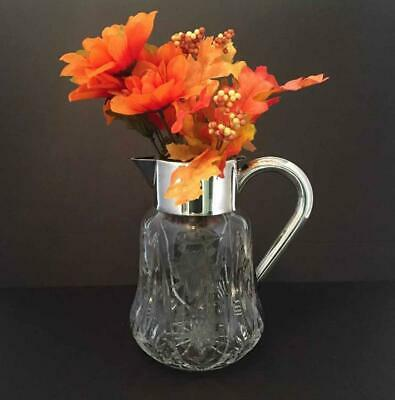 Antique Lead Crystal, Chased Grapes & Leaves, ASCI Silverplated Germany Pitcher 12