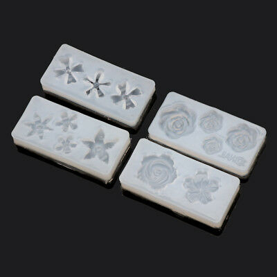 4Pcs Silicone 3D Flowers Cabochon Nail Art Mold UV Expory Resin Jewelry Making 5