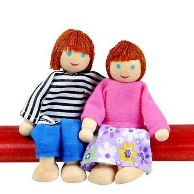 UK Wooden Furniture Dolls House Family Miniature 7 People Doll Kids Children Toy 11