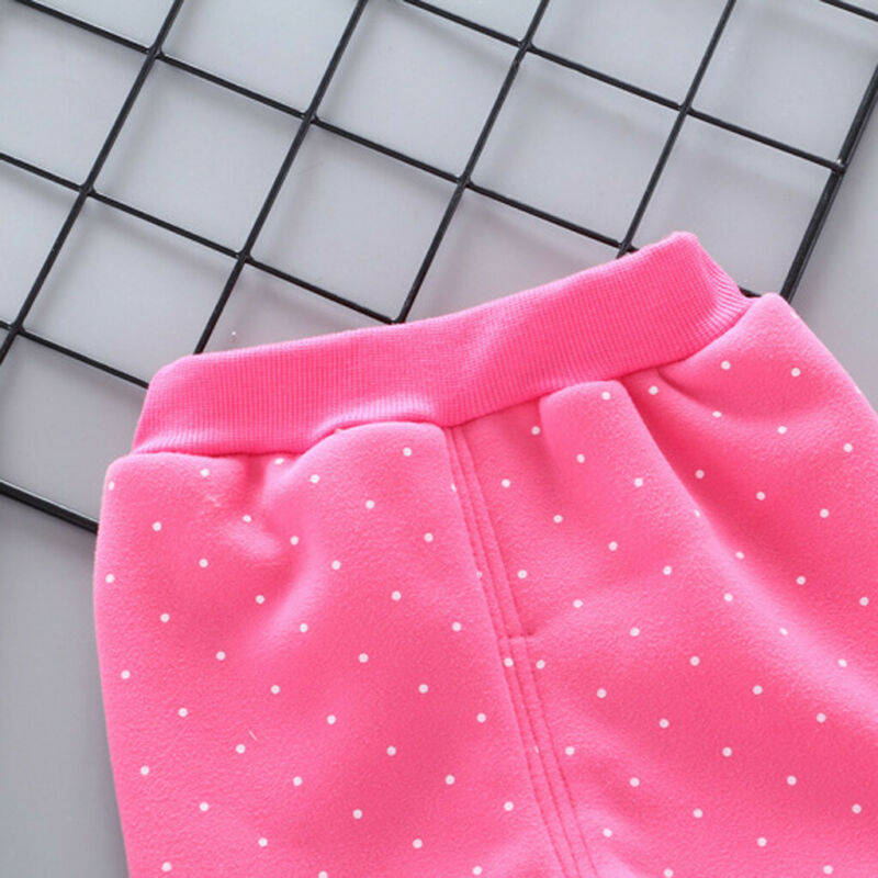 Toddler Baby Girls Dot Candy Thick Warm Pants Trousers Legging Clothes UK 10