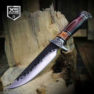 Combat SURVIVAL Hunting Tactical BOWIE Wooden Handle Fixed Blade FULL TANG Knife 8