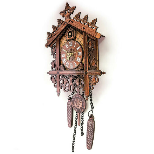 2Pcs Retro Wood Cuckoo Wall Clock with Pendulum Alarm Watch Decorations 5