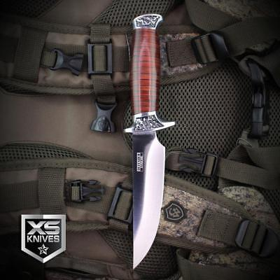 5PC Set Combat SURVIVAL Hunting Tactical BOWIE Wood Fixed Blade FULL TANG Knife 10