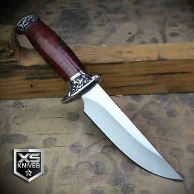 Combat SURVIVAL Hunting Tactical BOWIE Wooden Handle Fixed Blade FULL TANG Knife 11