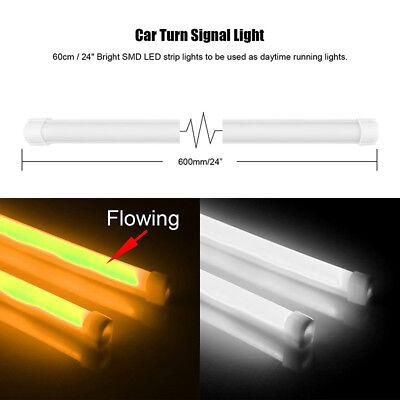 2x 60cm LED dynamique Bande Feux De Jour Diurne lumière de tête Feux clignotant 2