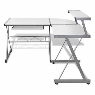 vidaXL Mesa de Ordenador Bandeja Teclado Extraíble Blanco Escritorio Oficina 3
