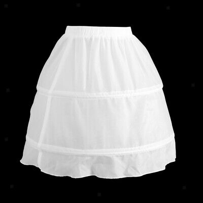 Girls 2 Hoop Tulle Wedding Flower Girl Short Chiffon Petticoat Underskirt 7