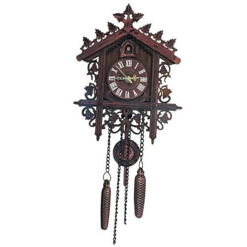 2Pcs Retro Wood Cuckoo Wall Clock with Pendulum Alarm Watch Decorations 11